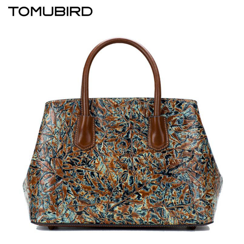 Tomubird(Tomubird)  National wind retro leather handbags Chinese style painted handbag Embossed hand bag women's handbags original national wind leather ladies handbag 2017 spring of the new chinese wind hand bag woman women s handbags