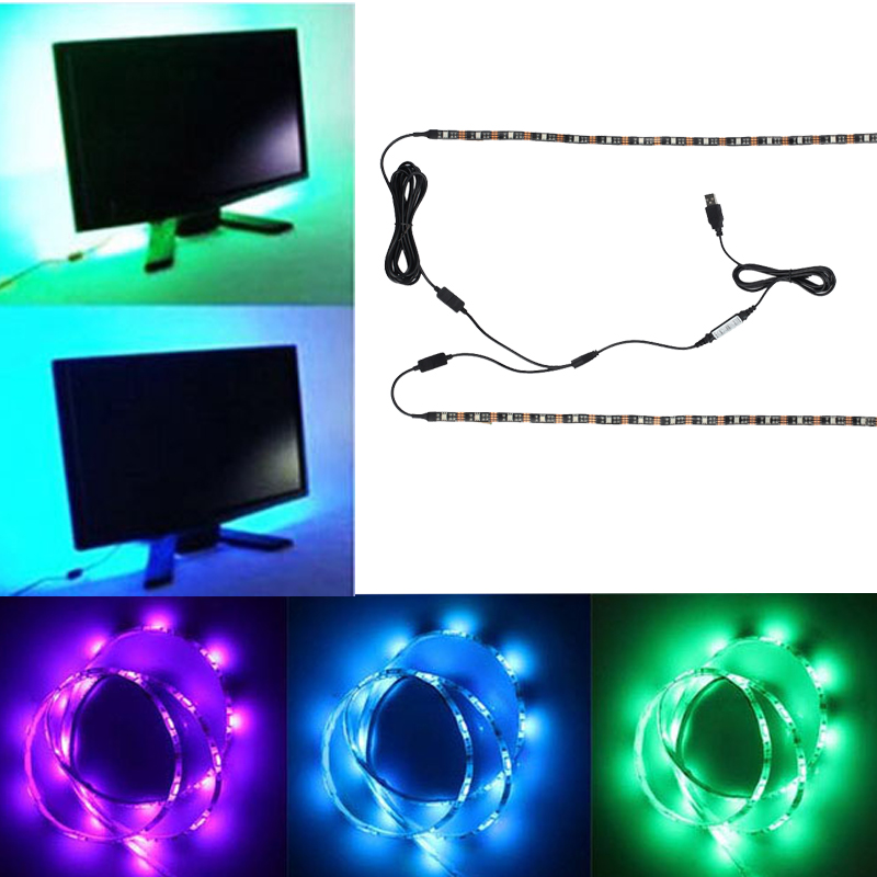 2pcs 50cm RGB TV Backlight LED Strip USB Color Changing RGB Lighting Kit Adjustable Flexible Led Ribbon Tape For TV Background 1 pcs lj64 03514a 2012sgs40 7030l 56 rev1 0 led tv backlight strip 56 led 493mm