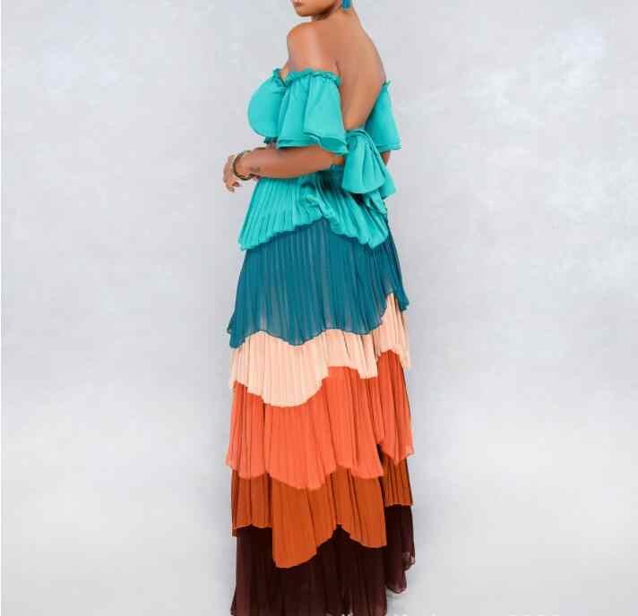 Лето 2019 Boho Женская сексуальная мода комплект из двух частей фонарь рукав без бретелек торт вечерние пляжные африканские платья женская одежда