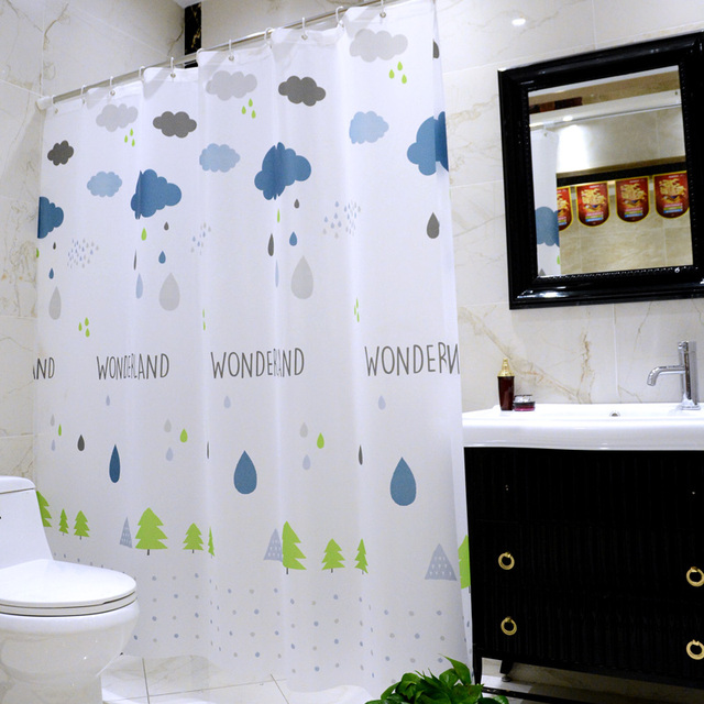 Cool Bathroom Shower Curtain Peva Waterproof Mold Resistant Liner For White Blue Kids Bath Decor