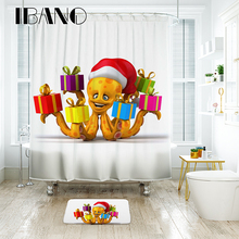 IBANO Octopus Shower Curtain Waterproof Polyester Fabric Bath Curtain For The Bathroom Decrotation For The Christmas Festival цена