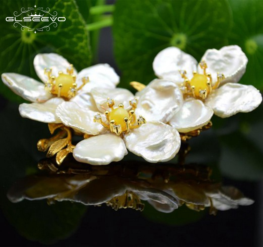 GLSEEVO Natural Fresh Water Baroque Pearl Flower Brooch Pins Ceromel Brooches Birthday Gift Women Dual Use Fine Jewellery GO0077GLSEEVO Natural Fresh Water Baroque Pearl Flower Brooch Pins Ceromel Brooches Birthday Gift Women Dual Use Fine Jewellery GO0077