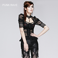 New Womens Gothic T Shirt Victorian Harajuk Emo Sexy Black Lace Top T395