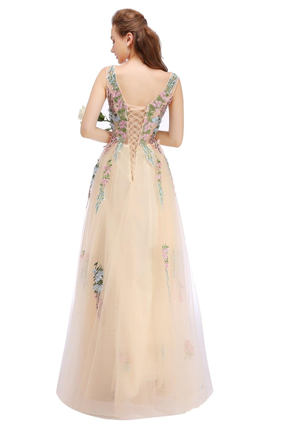 SSYFashion 新シャンパンレース刺繍ロングイブニングドレス花嫁の宴会エレガントなノースリーブ床の長さウエディングパーティードレス  グループ上の ウェディング & イベント からの イブニングドレス の中 2