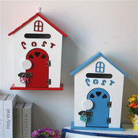Cute Creative House Shape Vintage Modern Wood Arts Letter Newspaper Mailboxes Garden Decoration Ornament Case Photography Props