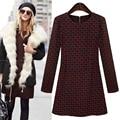 Libre vestido del envío 2015 más la túnica de manga larga de la manera del tamaño gruesa de algodón caliente combina las mujeres a cuadros vestido informal invierno C457