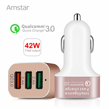 Amstar Fast Car Charger 42W Quick Charge 3.0 Portable USB Charger QC3.0 Car-Charger for Samsung Galaxy S9 S8 Note 9 iPhone X XS