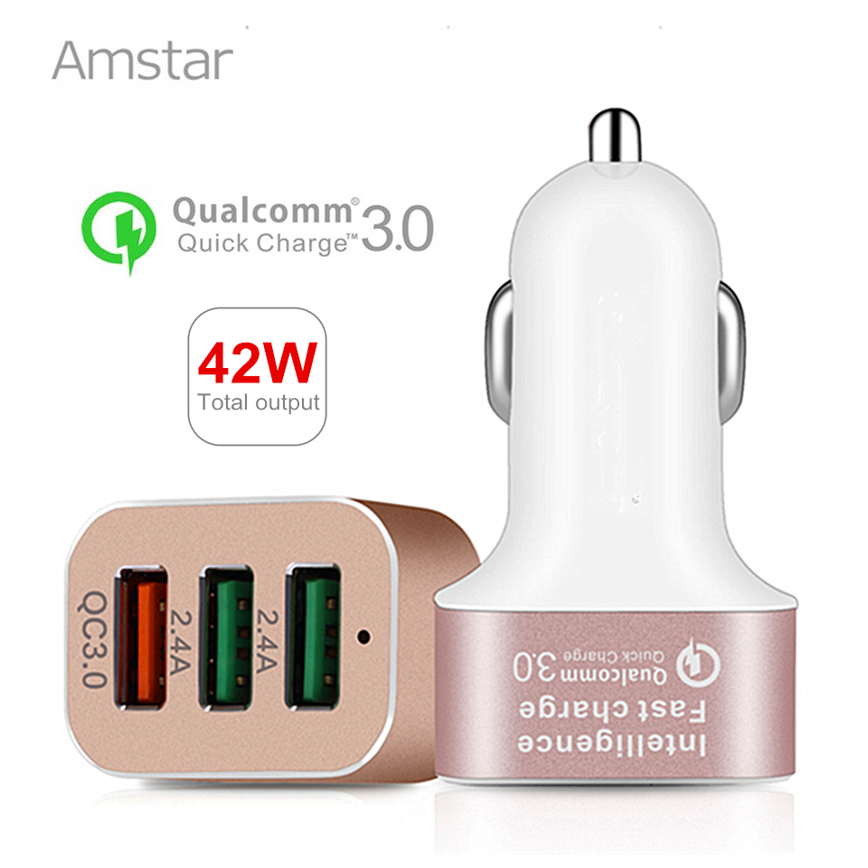 Amstar Fast Car Charger 42W Quick Charge 3.0 Portable USB Charger QC3.0 Car-Charger for Samsung Galaxy S8 S8+ Note 8 iPhone X 8