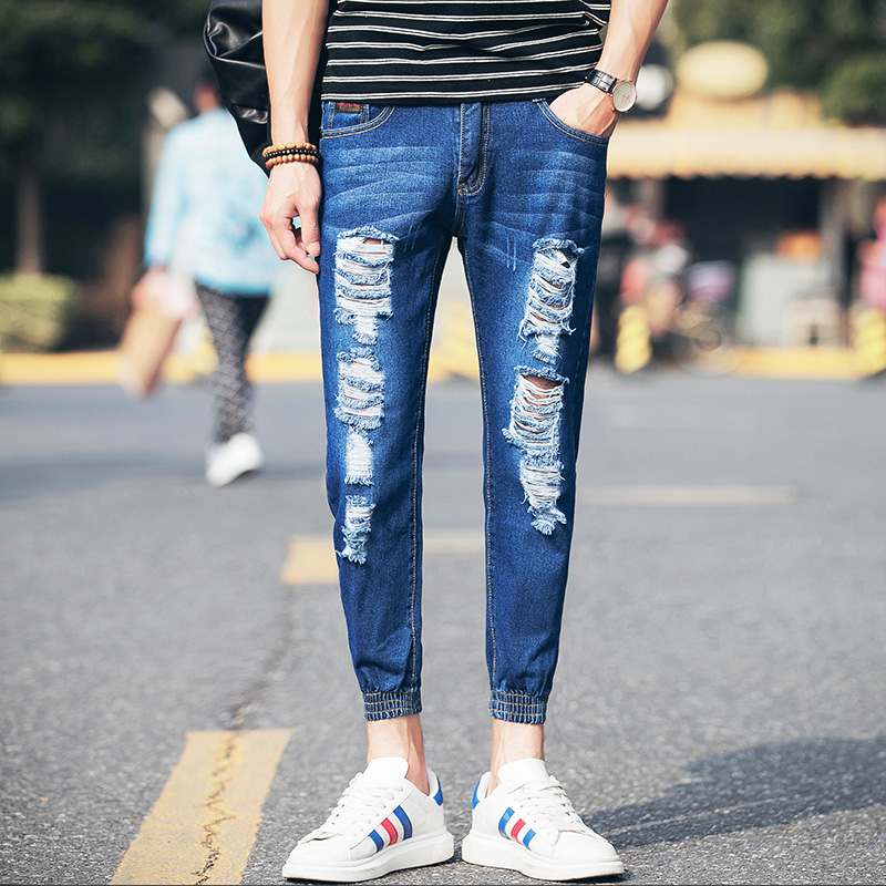 2017 Summer Ankle Length Ripped Jeans Men Retro Blue Slim Fit Mens Denim Jeans Pants Male Terrible Hole Style Jeans Pant Men 36 men jeans fear of god ripped blue mens holes leisure straight denim designer mens jeans streetwear clothing pant oversize 28 40