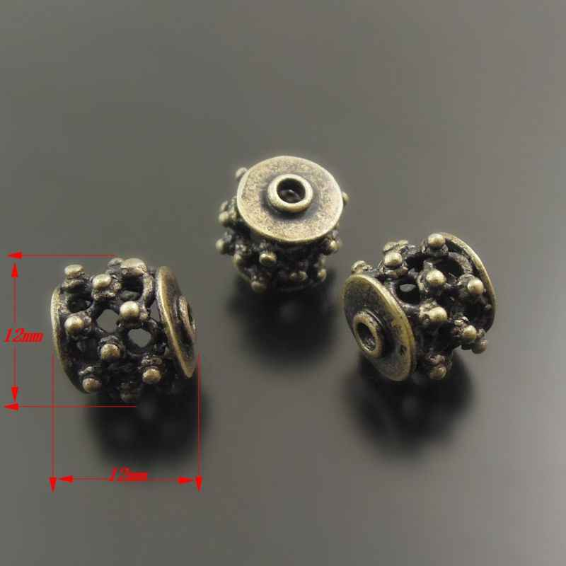 38011 Antiqued Bronze Della Lega Dell'annata Hollow Rotonda Borda il Pendente 12*12mm 10 pz