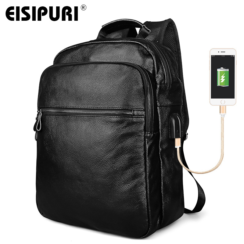EISIPURI Men's USB Charge Backpack High Quality Genuine Leather School Bags for Teenagers Large Travel Laptop Backpacks ozuko multi functional men backpack waterproof usb charge computer backpacks 15inch laptop bag creative student school bags 2018
