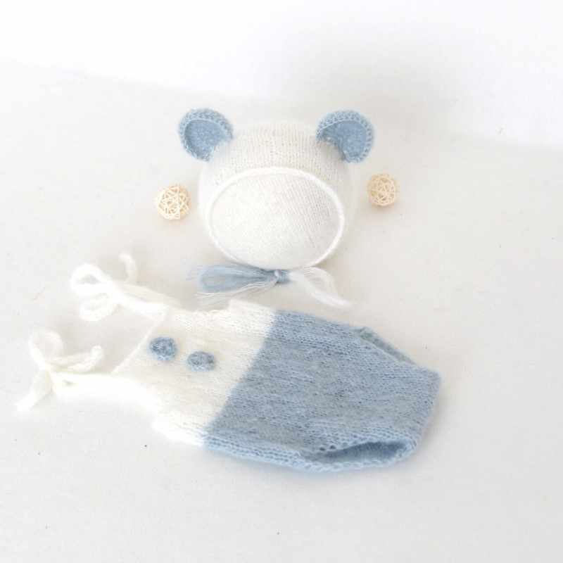b237cf7c941 Mohair Lovely Teddy Bear Hat and Romper Newborn Bear Bonnet Props Baby Boy  Outfit Overalls Infant