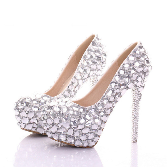 Silver Rhinestone Wedding Shoes Women High Heels Bridal Shoes