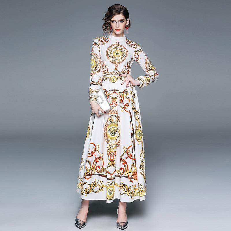 BLLOCUE Europe Fashion Women Autumn Runway Maxi Dress Long Sleeve Elegant Stand Vintage Print Casual Holiday