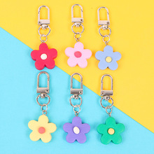 Cloth flower key ring Chiffon tassel car chains Lady couple bag ornaments creative fashion charm keychain