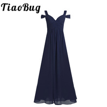 Kadın Bayan Şifon Kapalı Omuz Uzun Gelinlik Modelleri Elbise Kadınlar Yan Bölünmüş Yüksek belli Kat Uzunluk Balo düğün Parti Elbise