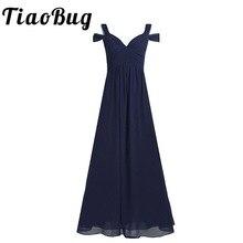 Senhoras chiffon fora do ombro longo vestido de dama de honra feminino lado divisão de cintura alta andar comprimento baile de formatura vestido de festa de casamento