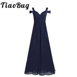 Vestido largo de dama de honor de chifón con hombros descubiertos para mujer vestido de fiesta de boda de graduación de cintura alta con abertura lateral