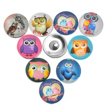 30Pcs/lot Mixed Owl Pattern Glass Charm Snap Press Buttons Click DIY Crafts Findings 18mm
