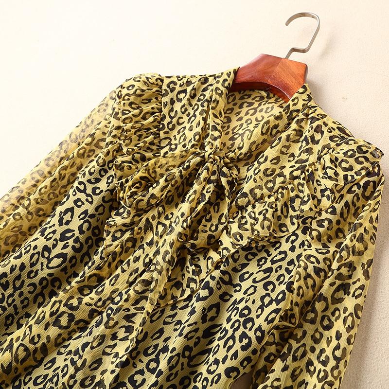 Seidenbluse Temperament 2019 Bluse Bogen Stilvolle Vintage Langarm Ziwwshaoyu Fr Print Leopard nwOv80mN