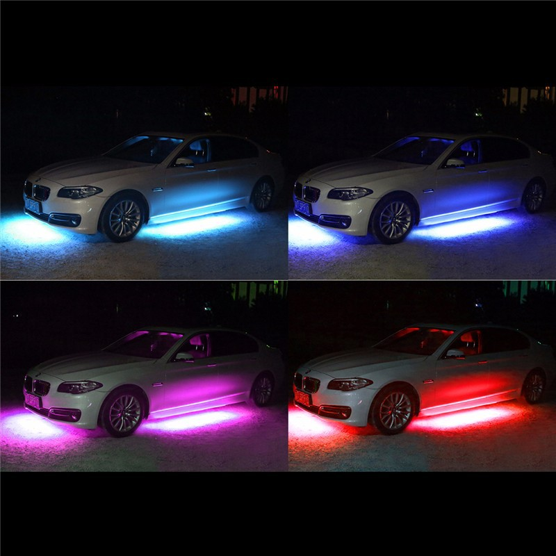 4x8 Colors super bright 5050 LED Strip Under Car Tube Underglow Underbody System Neon Light Kit SOUND ACTIVE MUSIC DECORATION (5)