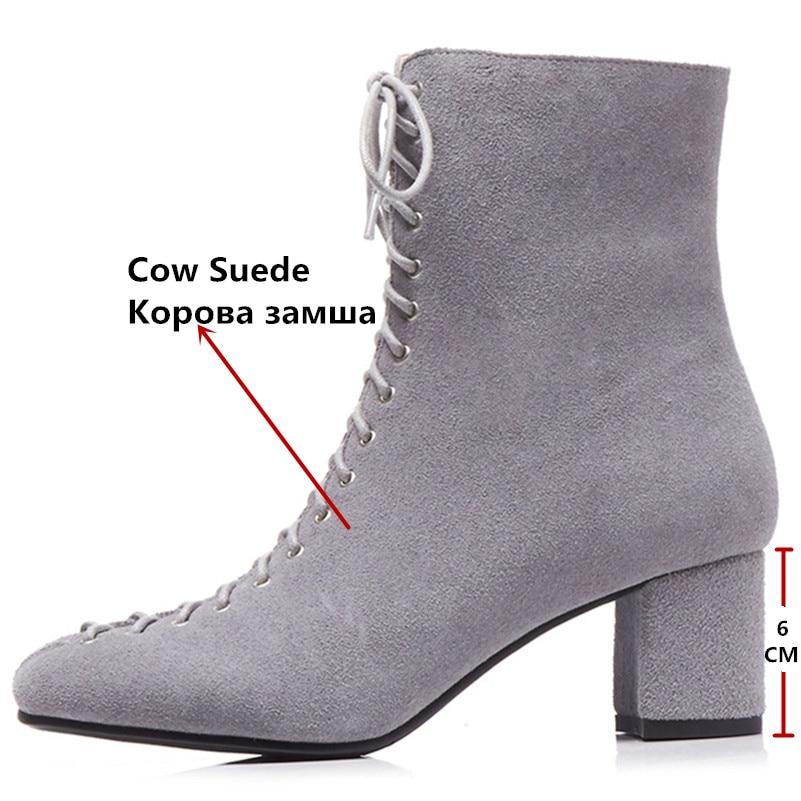 Vache Chaussures Conasco Martin Cheville Femmes Suède 1 De Noir Élégant Carré Court Base Bottes Bout 2 Lacent Talons Femme zzq4vwI