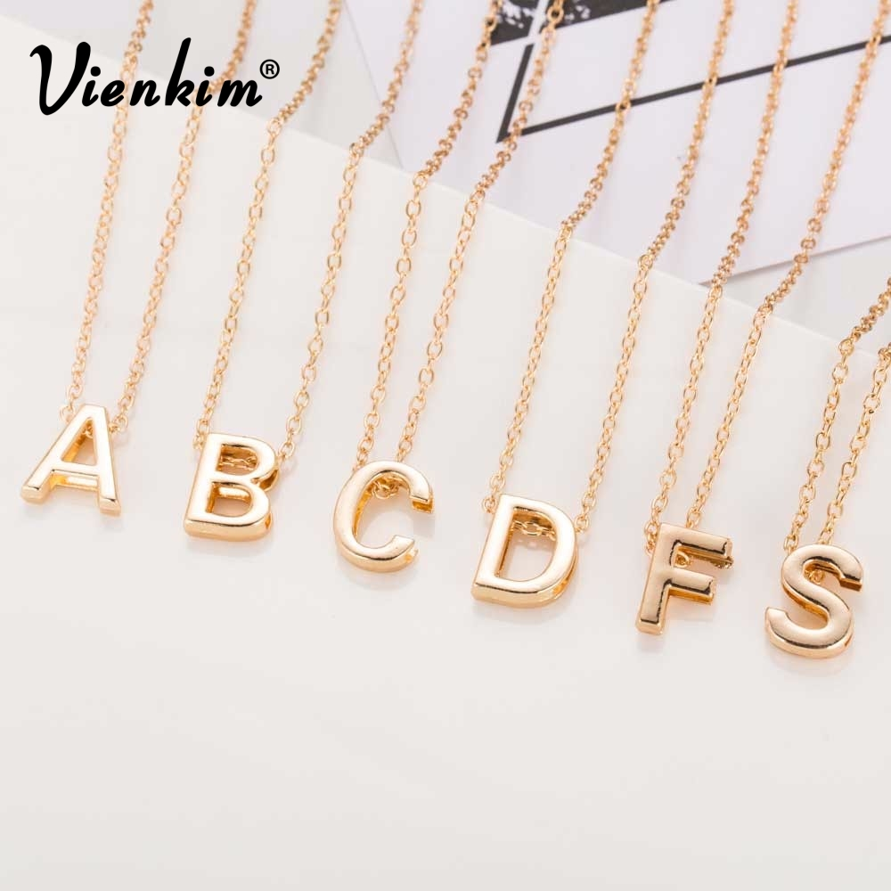 Vienkim 2019 New Hot Sale Fashion Women's Metal Alloy DIY Letter Name Initial Link Chain Charm Pendant Necklace N125