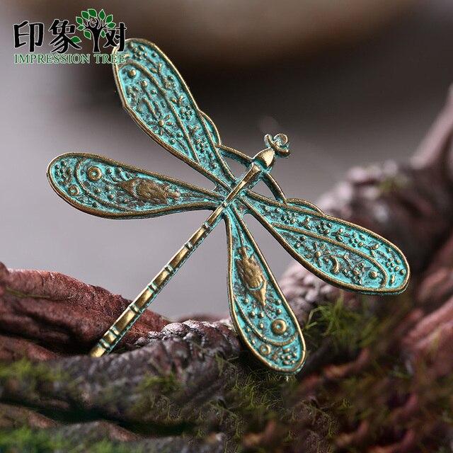 2 piezas 36*45mm aleación Verdigris Patina chapada libélula Vintage encantos accesorios para DIY joyería que hace la pulsera Accessories27049