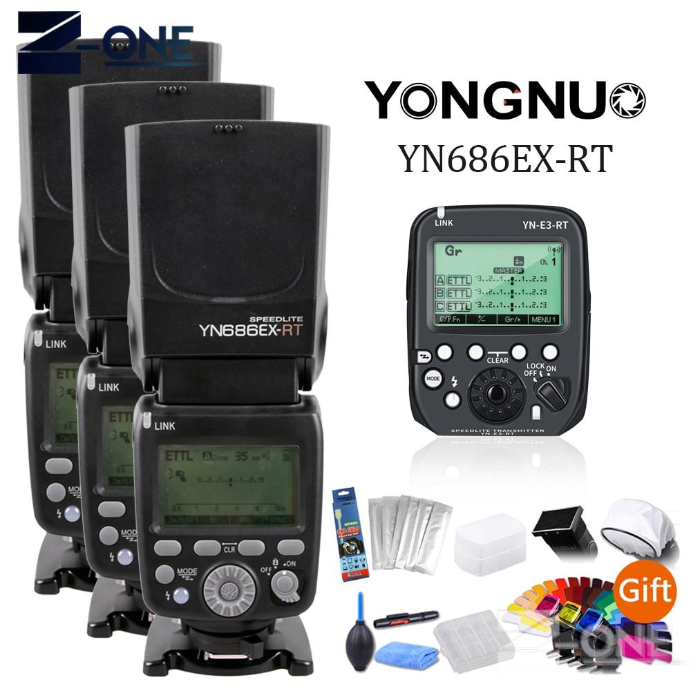 3 piezas YONGNUO YN686EX-RT 2,4G TTL HSS Flash Speedlite + YN-E3-RT controlador para Canon 5DIV 5D3 5D2 7D Mark II 6D 70D 60D 650D