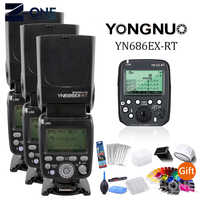 3pcs YONGNUO YN686EX-RT 2.4G TTL HSS Flash Speedlite +YN-E3-RT Controller for Canon 5DIV 5D3 5D2 7D Mark II 6D 70D 60D 650D