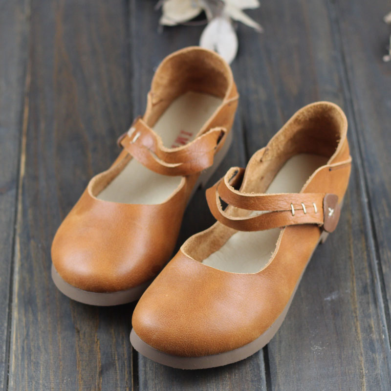Cuir Confortable Chaussures Femmes En Peu Main Gratuite Véritable Casual livraison Fond Mou À De 2018 Careaymade coffee Plat Profonde Brown La Chaussures 7qOI8nxFx