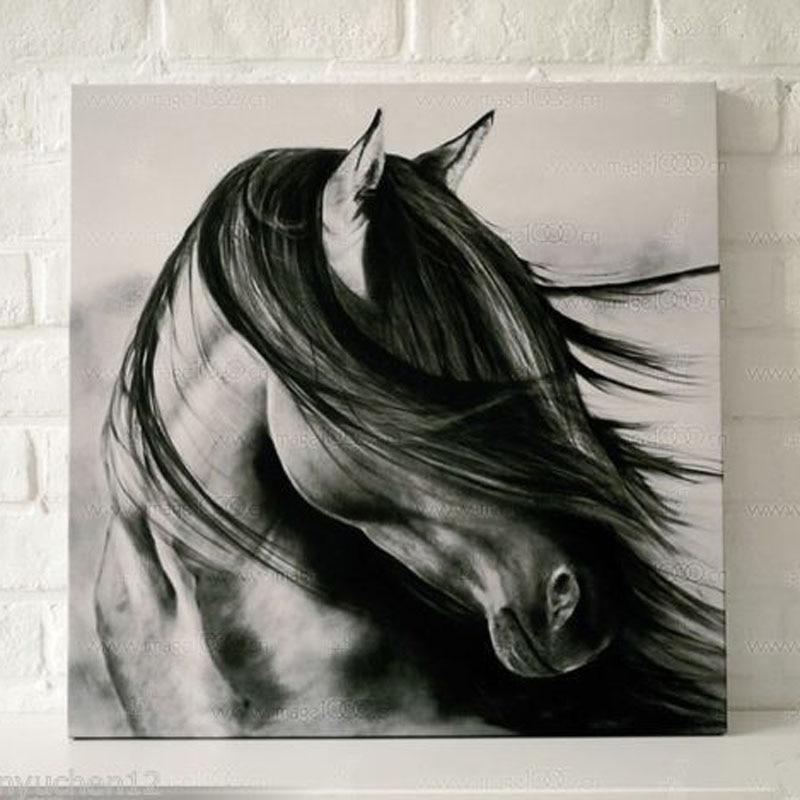 หัตถกรรมภาพวาดสัตว์น้ำมันบนผืนผ้าใบ(ไม่ยืด)สีดำม้าคิด24x24นิ้วตกแต่งผนังรูปภาพตกแต่งบ้านขอ...