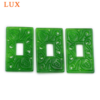 Rectangle hollowed-out green jades stone carved slice crystal gem for jewelry DIY handmade finding