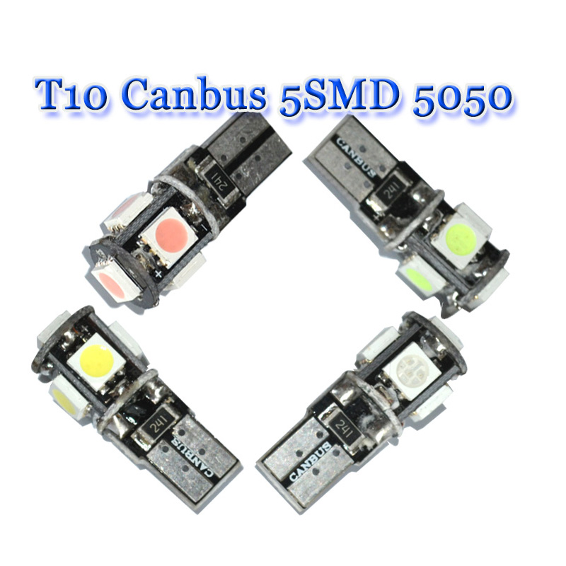100pcs new T10 Canbus 5SMD 5050 LED W5W 194 5 SMDwedge parking dome light auto White