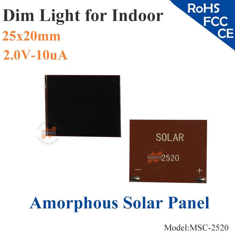 25x20mm 2 0v 10ua dim luz vidro ito de celulas solares de silicio amorfo de pelicula