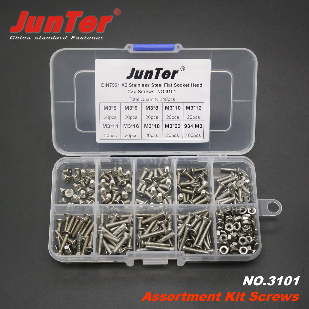 340pcs M3 (3mm) A2 Stainless Steel DIN7991 Flat Socket Head Cap Screws With Hex Nuts Assortment Kit NO.3101 340pcs stainless steel m3 a2 hex screw kit assortment nuts bolt cap socket set 125x65x22mm with case
