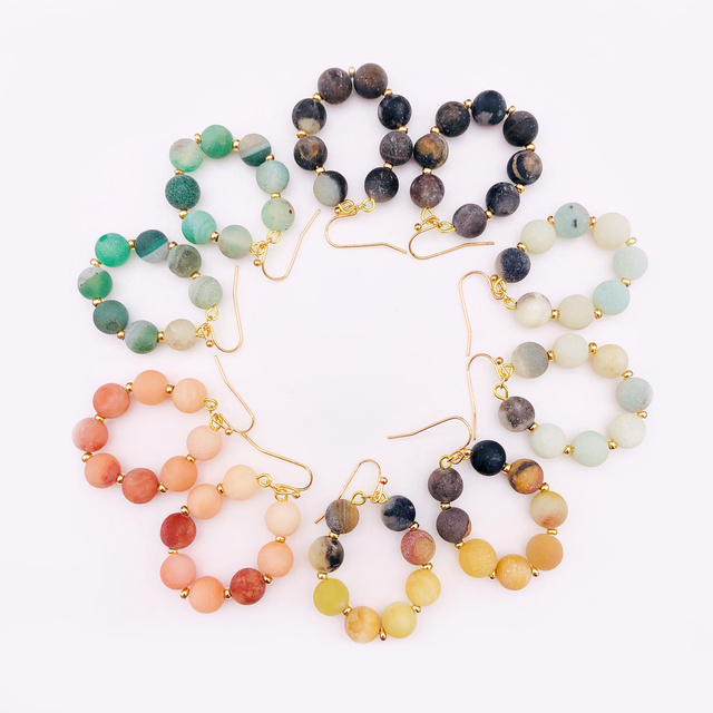 Colorful Natural Stone Beads Earrings