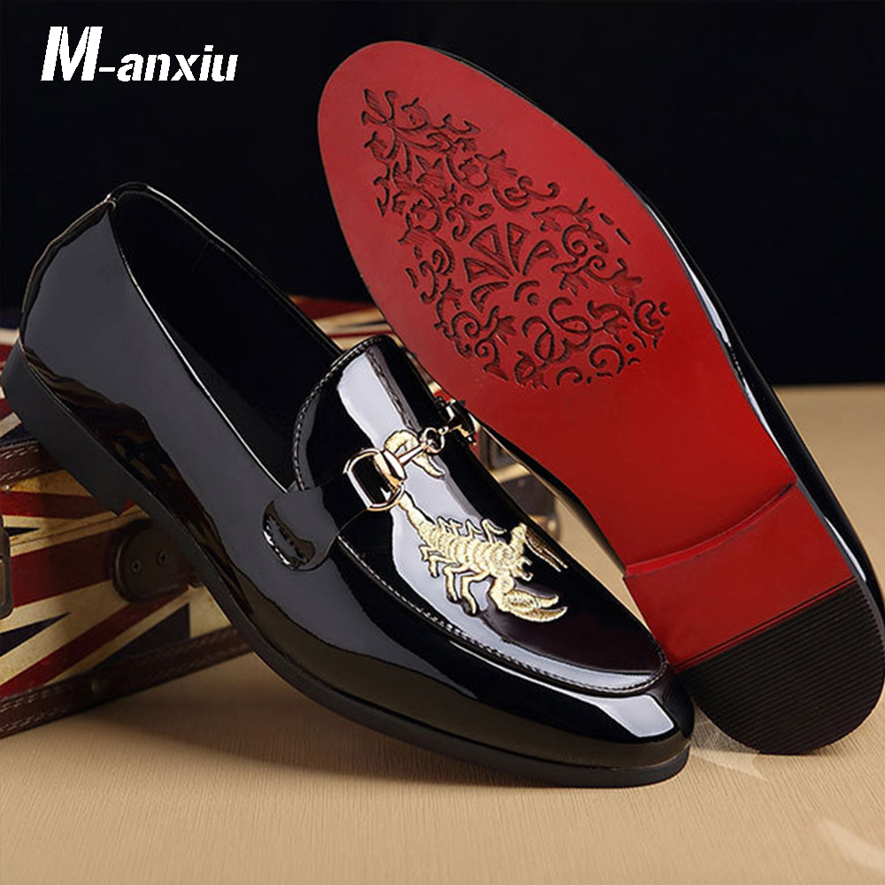 M-anxiu Men Fashion Classic Doug Shoes Animal Prints Print Shoes Business Pointed Toe Leather Bright Wedding Casual Flat Shoes