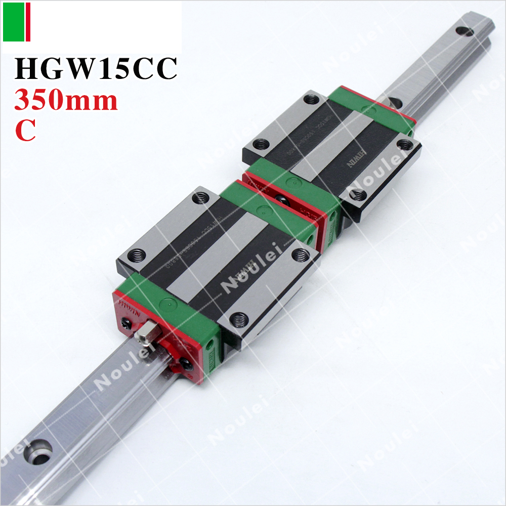 HIWIN HGW15CC slider block or HGW15CA flange with 350mm linear guide rail HGR15 CNC kit 2pcs hiwin hgh25ca linear guide slider block linear rails carrier