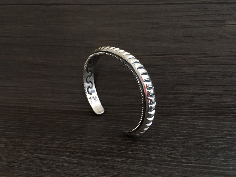 39.5g Solid Silver 925 Mens Bracelet Thick Band Gear Cuff Bangle Brief Design Real Sterling Silver 925 Mens Jewelry Top Quality