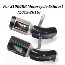 Motorcycle Exhaust Muffler Escape Modified Full system With AR Sticker carbon fiber Moto Escape Slip On For S1000RR 2015 2016 цена