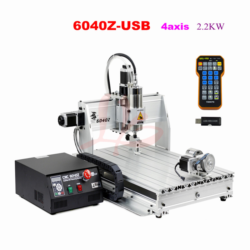 6040Z-USB 4axis 2.2KW mini cnc router with mach3 remote control USB port limit switch wood metal engraving machine