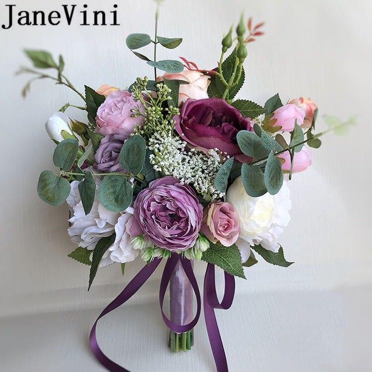 JaneVini violet pivoine mariée fleur Bouquets soie Rose mariage mariée main fleurs pour la Briade demoiselle d'honneur Bouquet accessoires