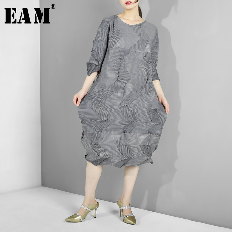 EAM 2019 New Spring Summer Round Neck Long Sleeve Pleted Fold Split Joint Big Size
