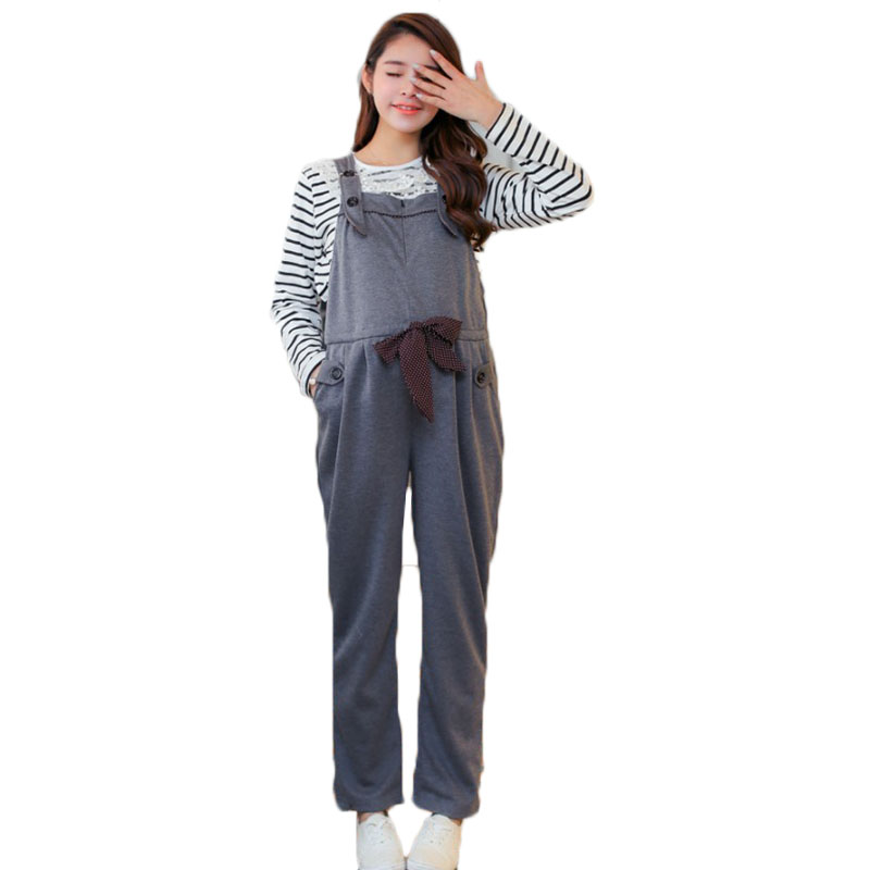 Maternity Jumpsuit Long Loose Pregnancy Clothes Thicken Pregnant Women Overalls Gravidas Pants Autumn Winter Cotton Trousers fashion cotton padded maternity shirts autumn winter fashion thick knitted long sleeve pregnancy tops loose maternity clothes