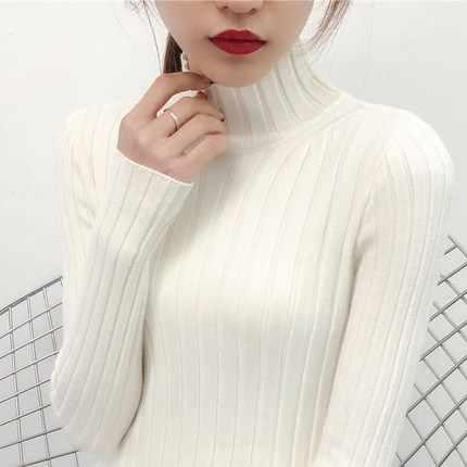 2019 белый свитер с высоким воротом и полу небольшой свежий женский короткий толстый тонкий плотный с длинными рукавами универсальные трикотажные рубашки