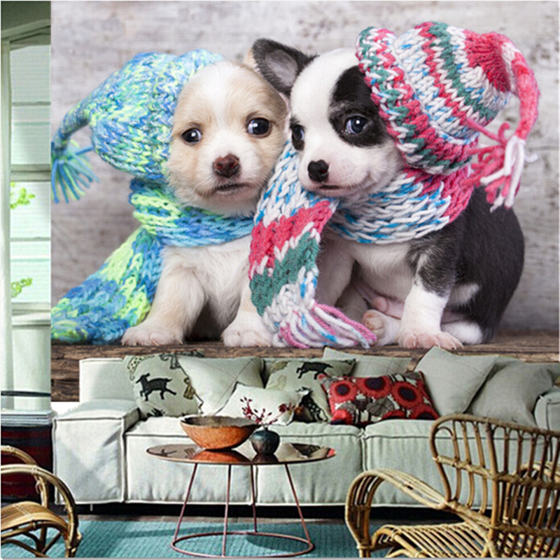 Custom 3D large mural,Two cute puppies  with wool hat  papel de parede ,living room sofa TV wall  bedroom wall paper the new children s cubs hat qiu dong with cartoon animals knitting wool cap and pile