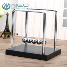 NEO Newton's Cradle Balance Ball Classic Toy Wooden Base Newtons Cradle Physics Pendulum Science Wave Home Desk Office Decor