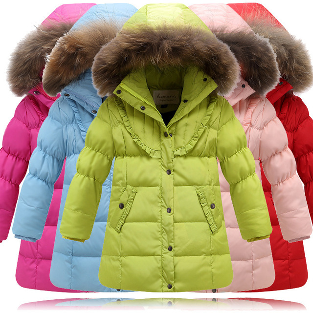 a36d2c7a13dc 2015 Girl winter jacket down Jackets Coats warm Kids baby thick duck Down  jacket With real fur Children Outerwears for-30degree