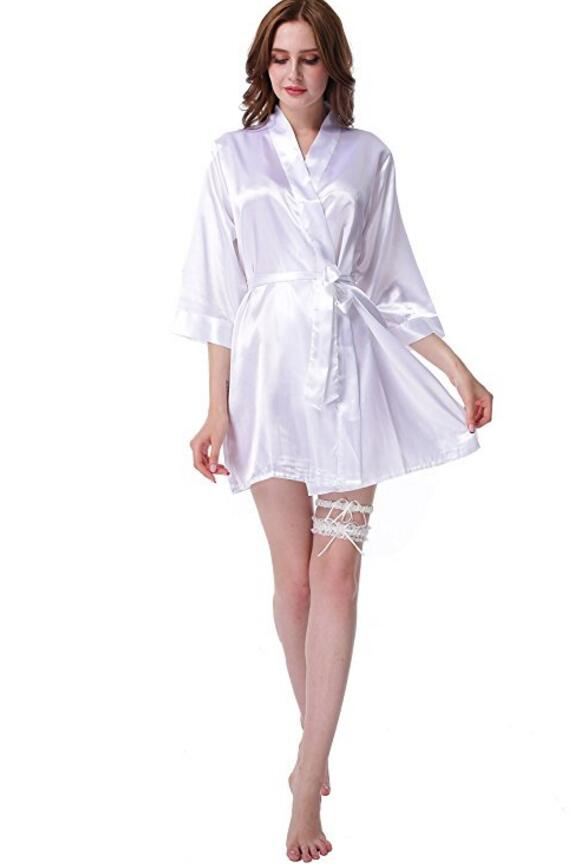 Women Silk Bridesmaid Bride Robe Sexy Short Satin Wedding Kimono Robes Sleepwear Nightgown Dress Woman Bathrobe Pajamas J-Pink